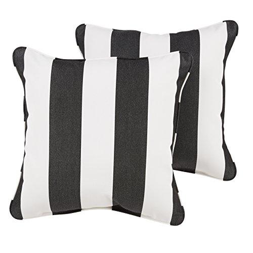 Mozaic Company Sunbrella Indoor/ Outdoor 20-inch Corded Pillow, Cabana Classic, Set of 2 (Stripe And Sunbrella White Black)