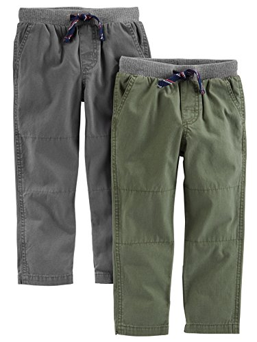 Simple Joys by Carter's Boys' Toddler 2-Pack Pull On Pant, Green, Gray, 3T Boys Knit Pants