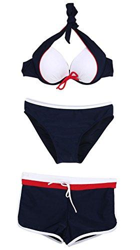 DELEY 3 Piezas Push Up Bikini Superior Inferior Escritos Del Boxeador Del Traje De Baño Conjunto Azul