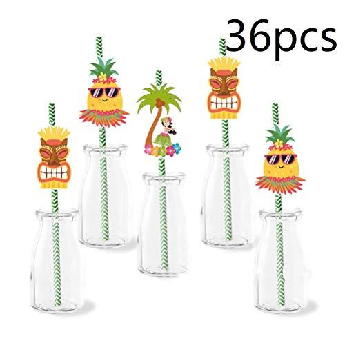 36pcs Hawaiian Luau Tropical Drinking Straws Disposable Straws Decoration Birthday Wedding BBQ Tropical Luau Hawaiian Party -