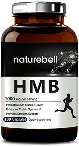NatureBell HMB 1000mg Per Serving, 180 Capsules, Powerfully Promotes Energy, Protein Synthesis, Muscle Growth. No GMOs and Made in USA.