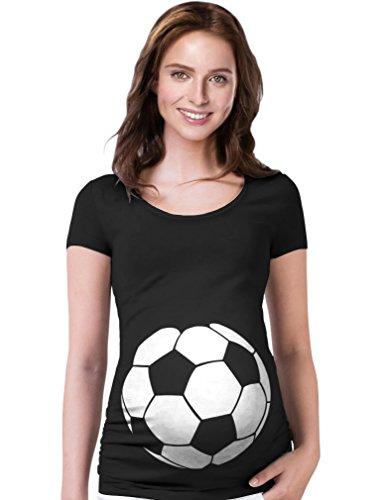 TeeStars - Soccer Ball Belly Funny Pregnancy Announcement Gift Maternity Shirt Small Black