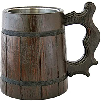 Wooden Beer Mug 20 Oz For Men Handmade Coffee Drinking Cup Large Pirate Pint Wood Stein Viking Ale Mead Tankard With Handle Fathers Day Birthday