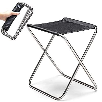 Camping Stool Fold Mini Camp Stool, Lightweight Camping Stool, Portable Folding Camp Chair, Foldable Outdoor Chairs for Travel, Camping (Large:12.9