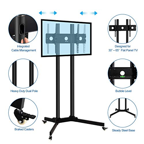 Toolsempire Height Adjustable Mobile TV Cart Rolling TV Stand for 30'' to 65'' Universal LCD LED Plasma Flat Panel Screens Within 600x400mm up to 132lbs with Wheels by Toolsempire (Image #3)
