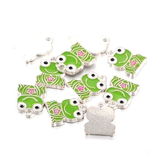 Craftdady 10Pcs Alloy Enamel Frog Charms 17x13mm DIY Jewelry Necklace Earring Bracelet Craft Making Animal Pendants with 1.5mm Hole