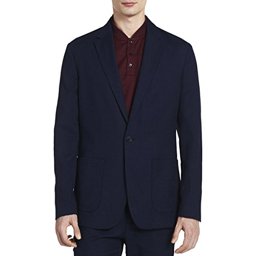 Single Blazer Button Collar (Calvin Klein Mens Single Vent Notch Collar One-Button Blazer Navy XL)