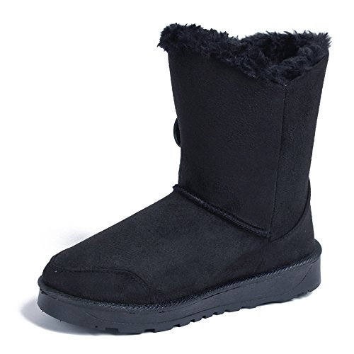 AgeeMi Shoes Women Closed Toe Pull On Low Top Suede Snow Boots With Buckle Black