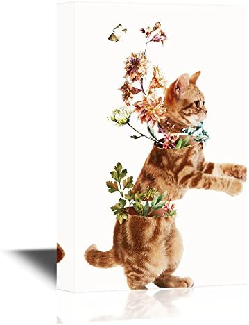 Abstract Art Featuring a Cat and Flowers Curiosity Concept