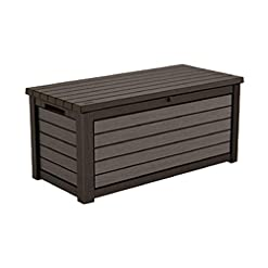 Deck Boxes 165 Gallon Weather Resistant Resin Deck Storage Container Box Outdoor Patio Garden Furniture, Brown outdoor deck boxes