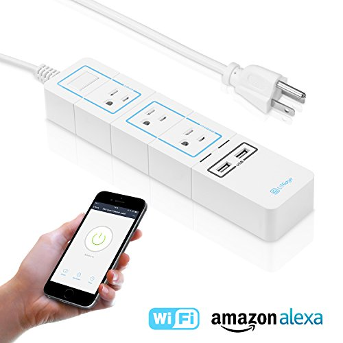 LITEdge Smart Power Strip, Wi-Fi Accessible 3 AC Outlets 2 USB Ports, Works with Amazon Alexa, No Hub Needed, Control with App on Phone, Surge Protected