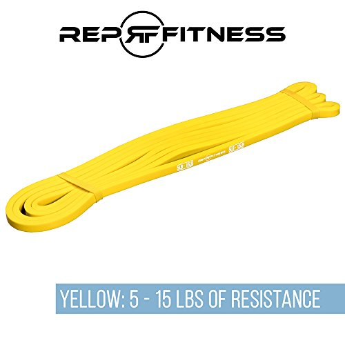 (Rep Fitness Yellow Pull-Up Band - 1/4 inch wide (5-15 lbs of resistance), 41 inch long)
