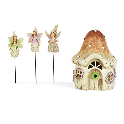Collections Etc Collectible Mini Fairy Garden Stakes and Cottage - 4 pc