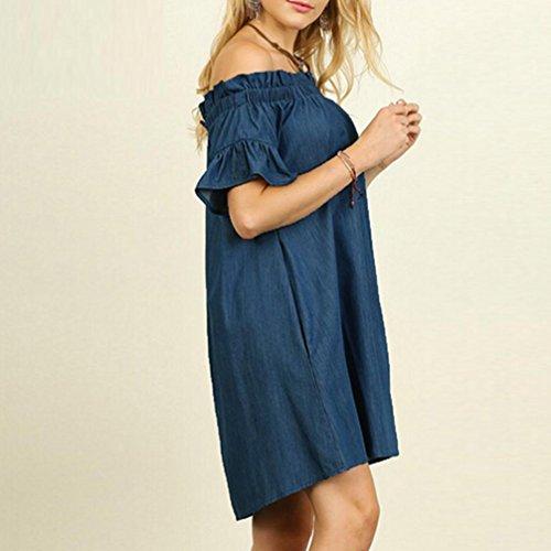 Size Robe Slash Shirt Off Loisirs L'Paule VJGOAL Plus Tops Summer Denim Bleu Cou Look Bardot Womens Denim Robe OwqFIA