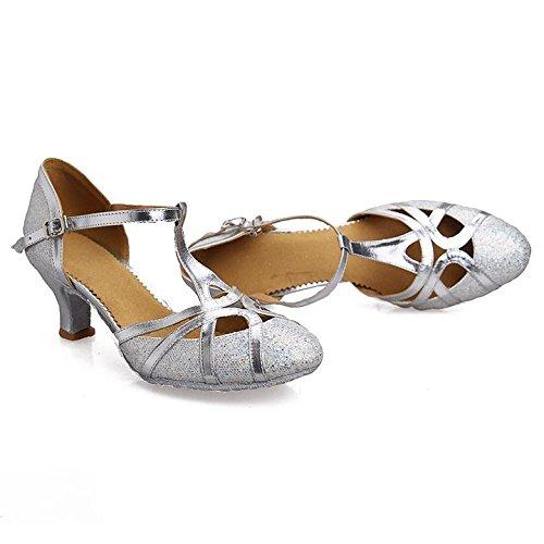Roy-Mall Roymall Damenmode Ballsaal Party Glitter Latin Tanzschuhe Modell CMJ-51 Silber-1