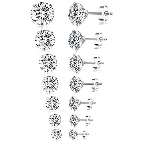 Tornito 7 Pairs 20G Stainless Steel Stud Earrings Round Cubic Zirconia Barbell Earring Set For Men Women 2MM-8MM