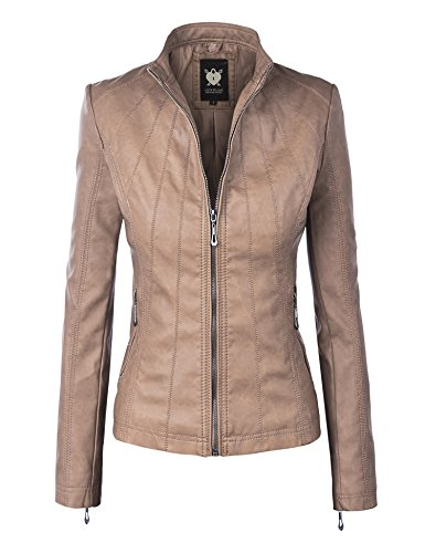 WJC877 Womens Panelled Faux Leather Moto Jacket M KHAKI Beige Womens Jacket