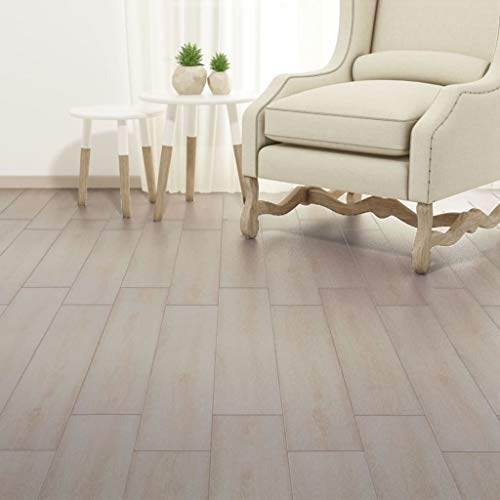 Tidyard Flooring Planks PVC Self-Adhesive Planks 54 ft² Oak Classic White ()