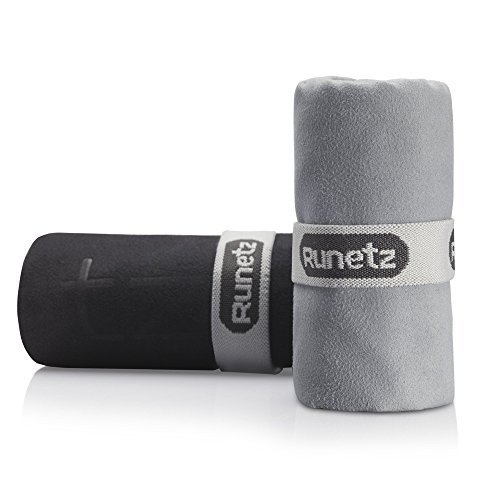 Runetz Soft Microfiber Athletic Towel, Super Absorbent & Quick Drying Lightweight for Gym, Sport, Travel, Large/Small, Black/Gray, 2 Piece by Runetz