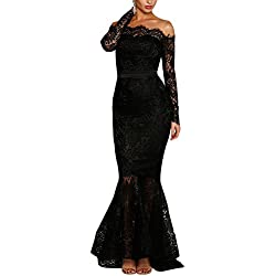 Lalagen Women's Floral Lace Long Sleeve Off Shoulder Wedding Mermaid Dress Black L