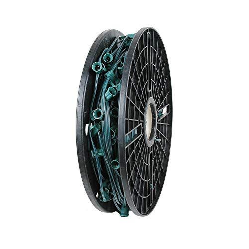 Novelty Lights 250 Foot C7 Christmas Stringer Bulk Reel, Green Wire, 18