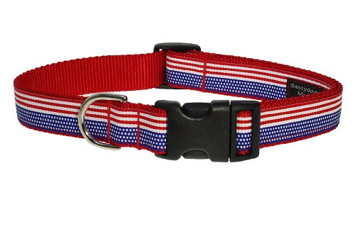 "Small American Flag Dog Collar: 5/8"" wide, Adjusts 10-14"" - Made in USA"