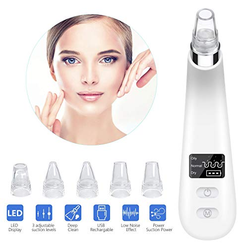 Blackhead Remover Vacuum Blackhead Remover Suction Rechargeable Blackhead Vacuum with LED Display Rechargeable Skin Vacuum for Blackhead Acne Grease Wrinkles Pore Vacuum Deep Cleaner for Facial Skin