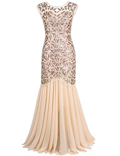 kayamiya Women's 20s Beaded Floral Maxi Long Gatsby Flapper Prom Dress L Champagne