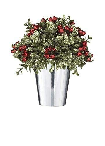 - Ganz Kissing Krystals Mistletoe and Berries Topiary in Silver Pot - Christmas Table Centerpiece,Multicolor,6-1/2
