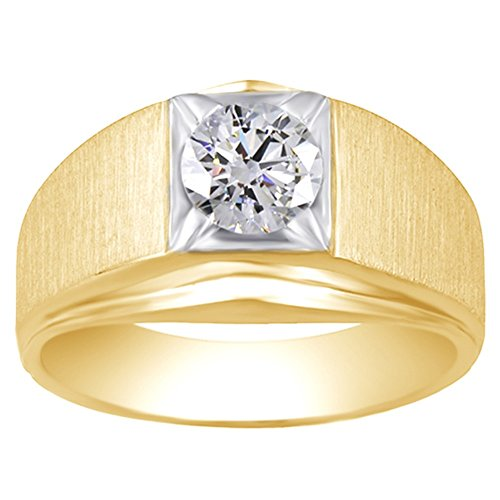 Jewel Zone US 1 Carat Moissanite Round Brilliant Solitaire Ring for Men in 14K Yellow Gold Over Sterling Silver