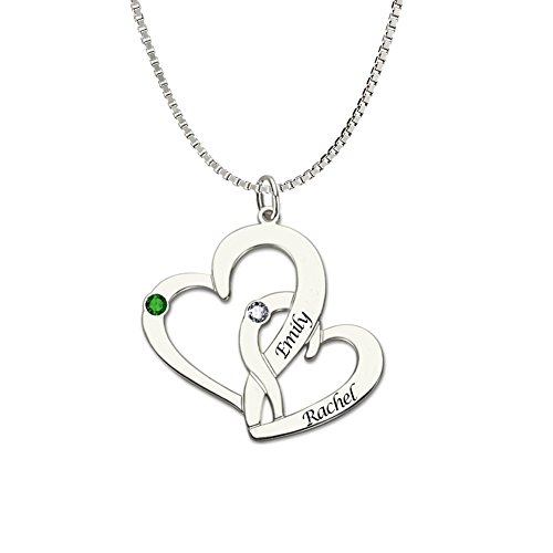 Ouslier Personalized 925 Sterling Silver Birthstone Double Heart Name Necklace Custom Made with 2 Names