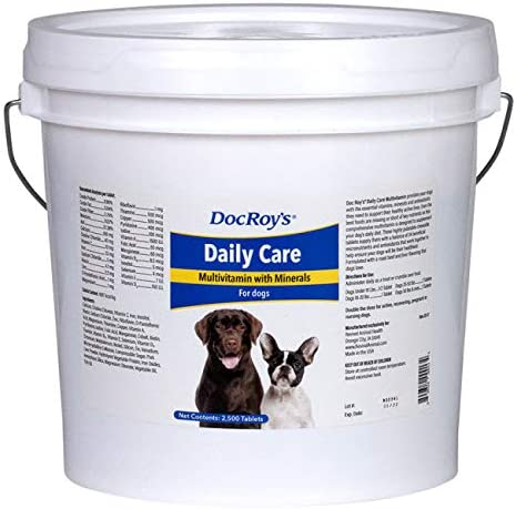 Doc Roy s Daily Care Multivitamin with Minerals for Dogs- Canine Daily Health Supplement- 2500 Tablets