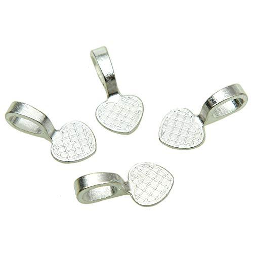 Monrocco 100 pcs Heart Bails Glue On Earring Bails for Fitting Glass Tiles Pendants for DIY Making