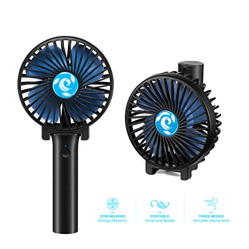 Mini Handheld Fan, Personal Portable Folding Face Fan with USB Rechargeable Battery Operated, 3 Settings Small Cooling Desktop Electric Fan for Outdoor Traveling Office Household (Black)