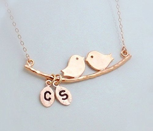 TWO Bird Initial Necklace, Two Monogram Leaf Charm, Custom Couple Jewelry, Kissing Bird Pendant Necklace, Family Tree Necklace, Child Mother Necklace Silver, Gold or Rose Gold Bird Monogram