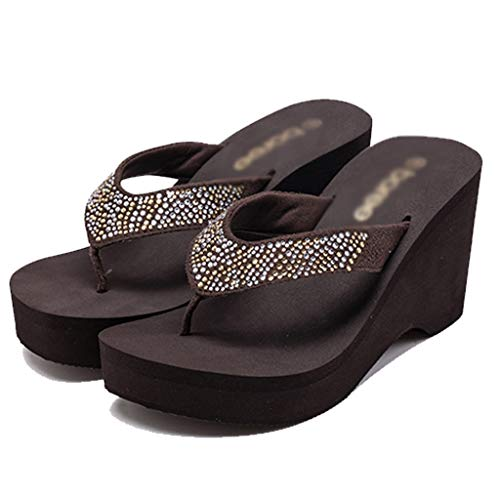 High color Size heeled Black Sandals Aminshap Flip Brown Wedges Slippers Beach 36eu Thick With Shoes flops Women's soled OnZFxxB