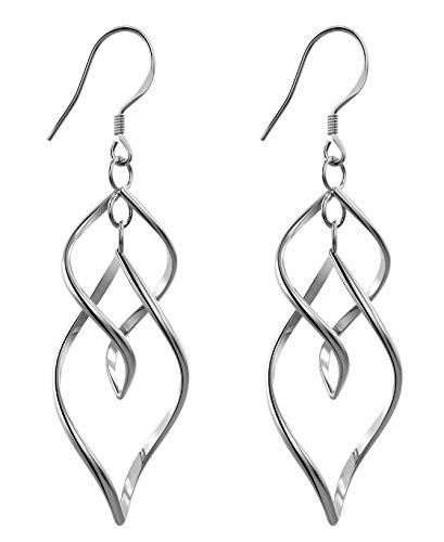 Fleur Rouge - Bassion Womens Classic Double Linear Loops Design Twist Wave Earrings for Women Girls
