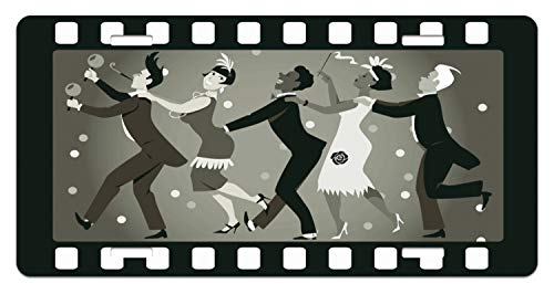 Lunarable Retro License Plate, Old Fashioned People at A Party in Vintage 1920s Fashion Dancing Theatrical Film Design, High Gloss Aluminum Novelty Plate, 5.88 L X 11.88 W Inches, Taupe -