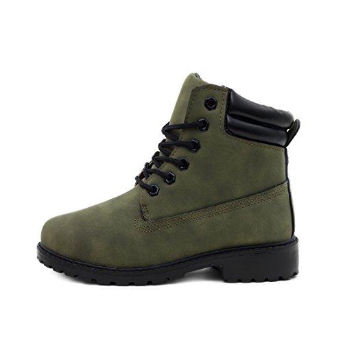 Trendige Damen Kinder Schnür Stiefeletten Stiefel Worker Boots in Lederoptik Grün gefüttert