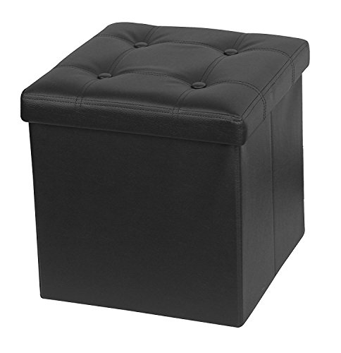 41%2BevDPz9ZL - Otto-Ben-15-Storage-Ottoman-with-Memory-Foam-Seat-Folding-Small-Square-Foot-Rest-Stools-Table-Tufted-Ottomans-Bench-with-Faux-Leather-Black