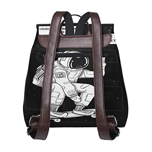 Astronaut ryggsäck handväska mode PU-läder ryggsäck ledig ryggsäck för kvinnor