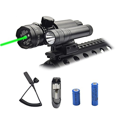 Feyachi Green Laser Sight - 532nm Green Dot sight & Flashlight combo with Charger fits in Picatinny / Weaver rails for Hunting by Feyachi