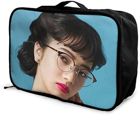 小松菜奈 写真 旅行用トロリーバッグ 軽量 ポータブル荷物バッグ 衣類収納ケース キャリーケース 固定 出張パッキング 大容量 トラベルバッグ ボストンバッグ キャリーオンバッグ 旅行用サブバッグ