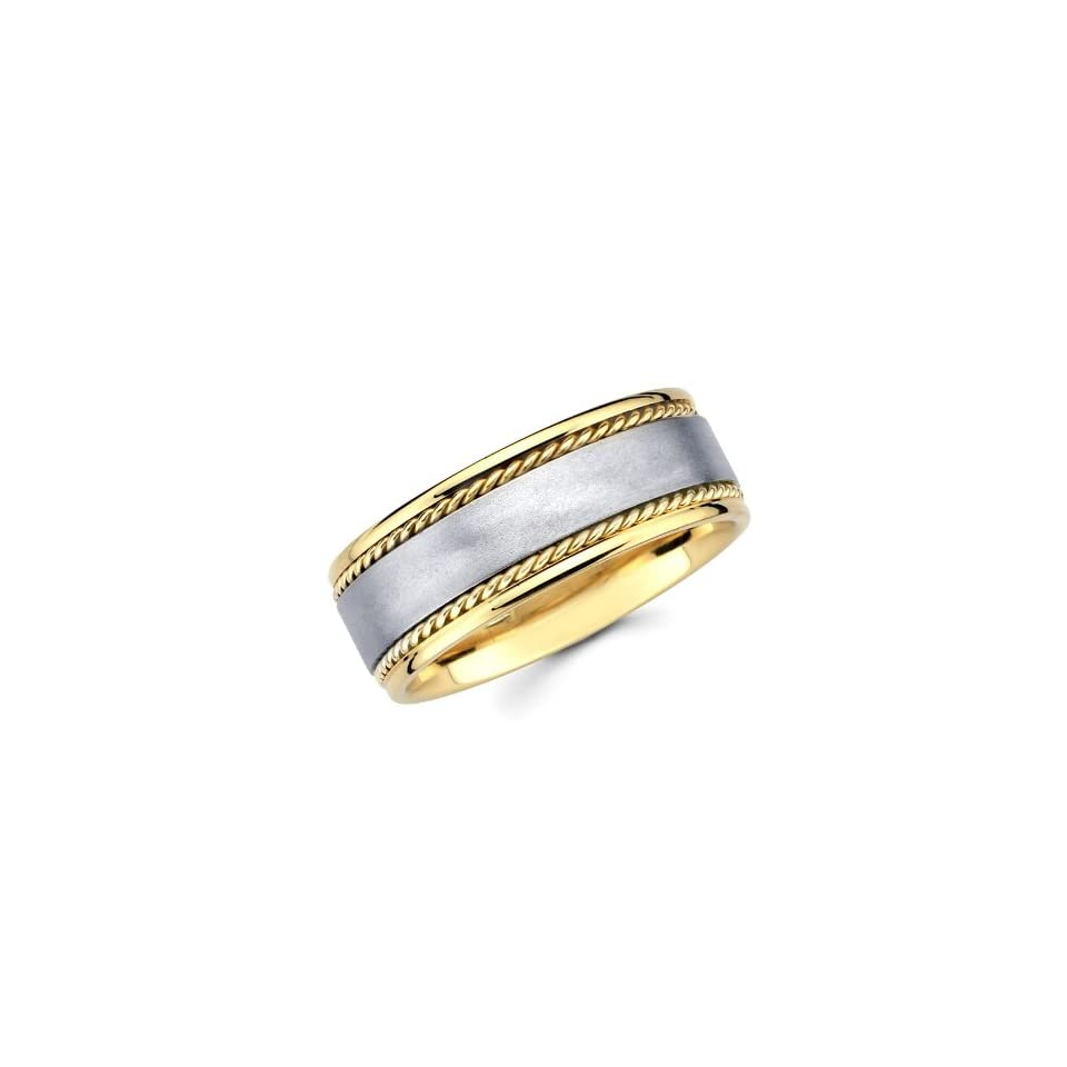 14K Yellow and White 2 Two Tone Gold 8mm Rope Brushed Designer Wedding Band The World Jewelry Center Jewelry
