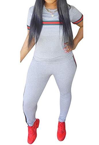 (Women's Sweatsuits, Women's 2 Pcs Tracksuit- Round Neck Short Sleeve Top Long Pants Jumpsuit Outfits Set- Sport)