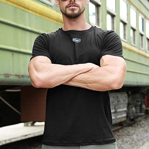 Amlaiworld Tops T Musculation shirt Blouse Serré Manches Courtes Séchage Noir Fitness Rapide Hommes Skin rrnqdCf
