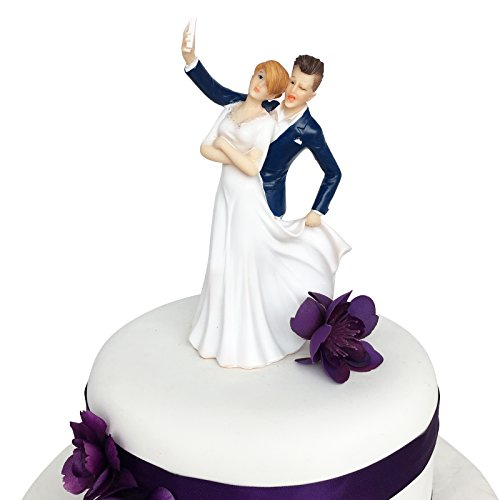 Groom Cake Top - Wedding Cake Topper Funny & Romantic Groom And Bride Taking Selfie Figurine | Toppers For Wedding Cakes Decoration | Hand Painted & Unique