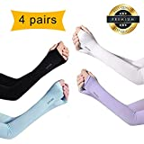 4 packs Cooling Arm Sleeves for Women with Thumb Hole UV Protection,Tattoo Sunblock Gloves Long Arm Cover for Cycling and Outdoor Sports (One size, Assorted Colors)