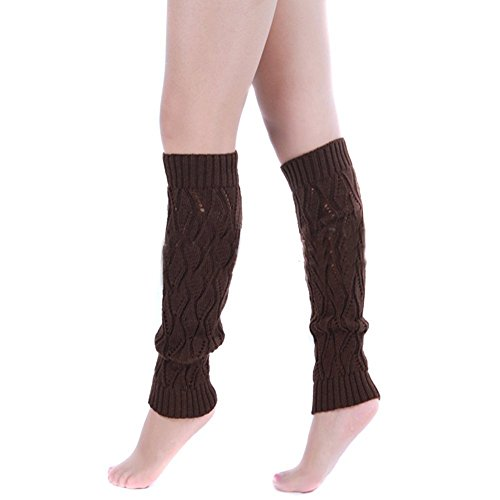 SEADEAR New Arrival Hollow Out Cable Knit Knitted Crochet Leg Warmer Boot Long Socks Cover Legging for Women Girls with Stylus Coffee