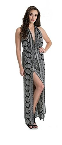 An Elan Maxi Halter Front Slit Cool Pattern Dress with Compact Mirror (S5087) (large)